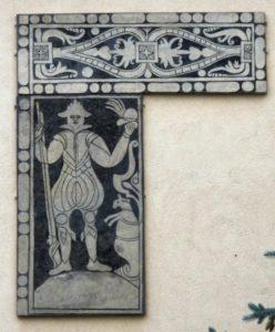Rysunek przedstawia rycerza- myśliwego zezwierzątkiem co może sugerować, żeczęsto serwowano nazamku dziczyznę.